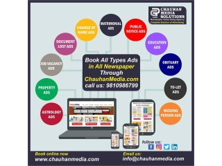 Book Advertisement in Any Newspaper for Delhi