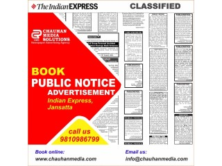 Book Public Notice Advertisement for The Indian Express