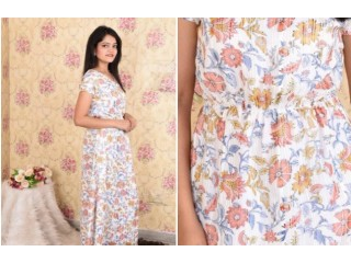 Shop White Printed Georgette Maxi Dress for Women online