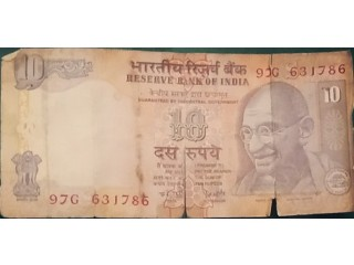 Old 10 rupees note 786 Indian currency